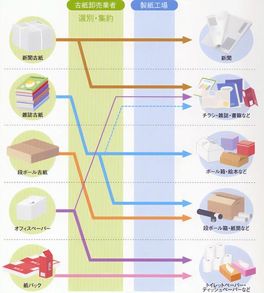 古紙が、古紙卸売業者と製紙工場を経てどのようにリサイクルされているかを示した図